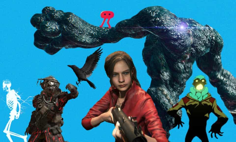 L-R: Mortal Kombat 11, Apex Legends, Pikuniku, Resident Evil 2, Devil May Cry 5, Void Bastards composite