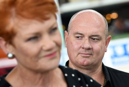 Pauline Hanson in Townsville in November 2017, with One Nation candidate for Thuringowa, Mark Thornton.