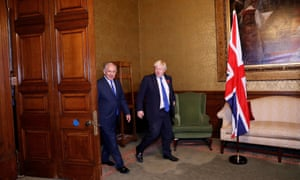 Boris Johnson meeting the Israeli prime minister Benjamin Netanyahu at the Foreign Office.