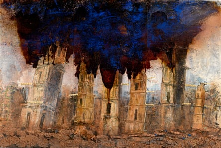 One of Anselm Kiefer's pieces in the Walhalla exhibition at White Cube, London