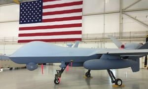 An MQ-9 Reaper drone sits in a maintenance bay at Creech air force base in Nevada.