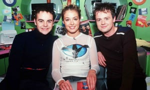 Ant and Dec fronting a children's TV chart show with Cat Deeley in 1998