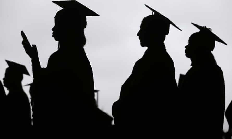 Silhouettes of gradutates