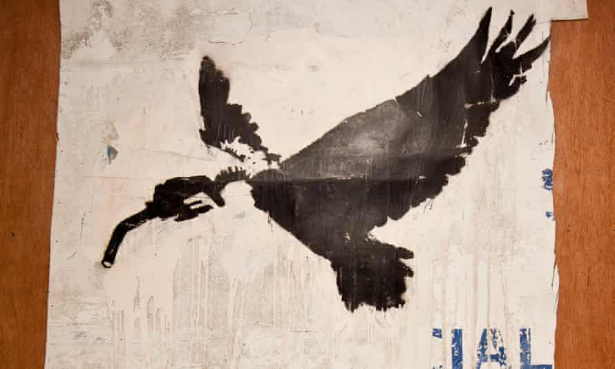 The Banksy image salvaged from a derelict container on Dungeness beach.