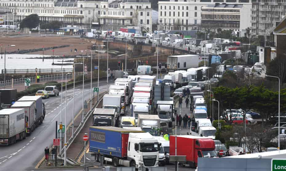 Cargo lorries queue in Dover, Kent, in December 2020