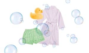 Illustration of dressing town, boxer shorts, rubber duck and bubbles for Romesh Ranganathan column on a spa day