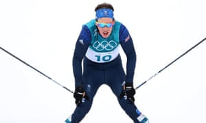 Andrew Musgrave at the end of the Mens 15km + 15km Skiathlon in PyeongChang.