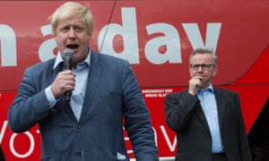 EU referendum: Boris Johnson speaks at a rally with Michael Gove.