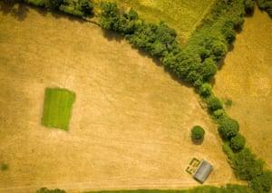 Priston, England: An aerial view of Priston village cricket club