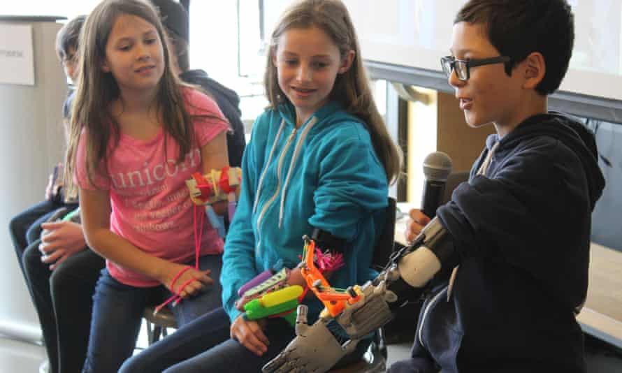 Rather than replace a hand, the Superhero Cyborg project encouraged children to use 3D design and printing tools to create a unique prosthetic that gave then a new superpower - like shooting glitter, carrying a heavy bag or holding the reins while horse riding
