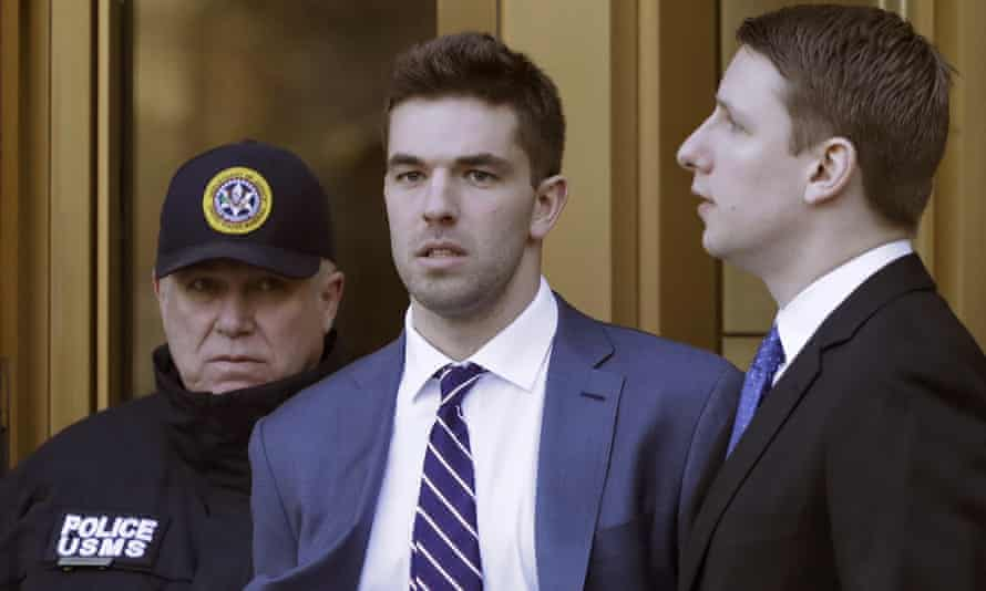 Billy McFarland, the promoter of the failed Fyre festival in the Bahamas, leaves federal court after pleading guilty to wire fraud charges.