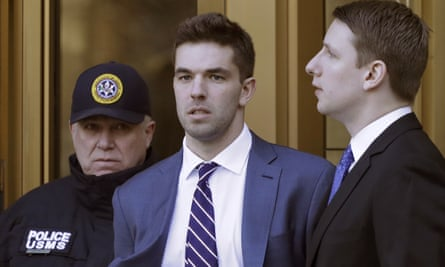 Fyre festival's Billy McFarland leaves court last March.