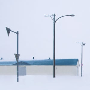 An image of streetlamps in the snow from Chinese photographer Ying Yin's series Wind of Okhotsk
