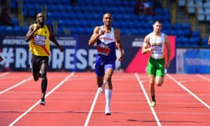 Matthew Hudson-Smith wins the men's 400m final in front of a sparse crowd at the UK Athletics trials in Birmingham.