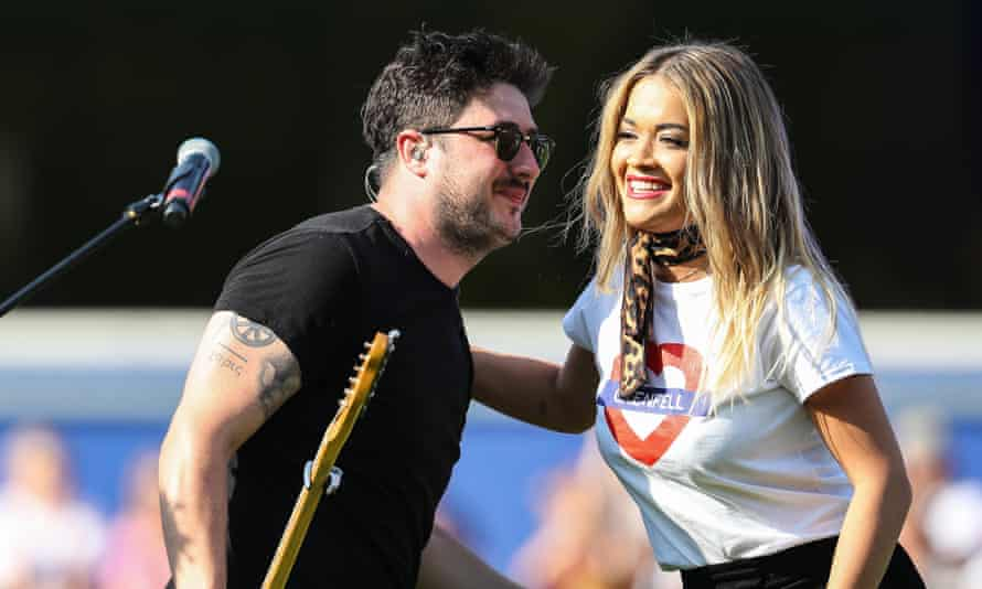 Marcus Mumford with Rita Ora at an event in support of the Grenfell victims.