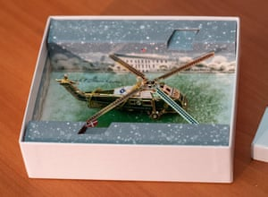 London, England. The Official 2019 White House Christmas ornament, a helicopter honouring the presidency of Dwight D Eisenhower, who in 1957 became the first sitting president to fly in a helicopter