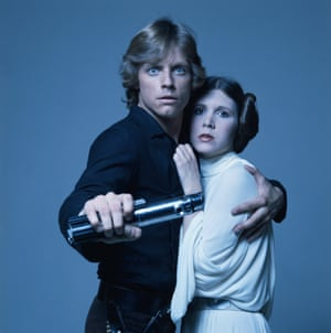 Mark Hamill and Carrie Fisher in 1977 as Luke Skywalker and Princess Leia.