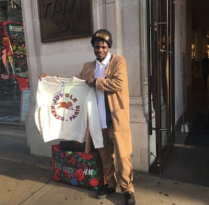 Yves Alawe with his Kenzo X H&M purchase.