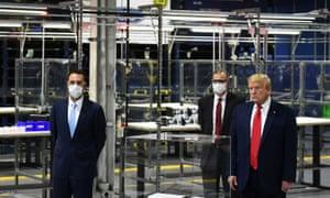 US President Donald Trump tours the Ford Rawsonville plant in Ypsilanti, Michigan.