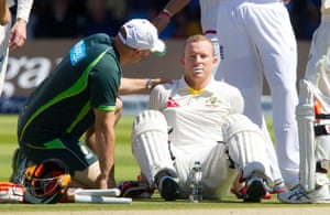 <strong>Day Four</strong><br>Chris Rogers collapses to the ground, receives treatment and leaves the field after not feeing well.