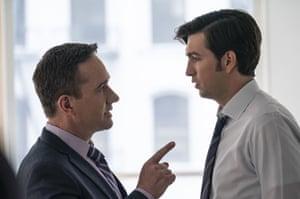 Macfadyen as Tom and Nicholas Braun as cousin Greg in Succession.