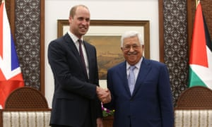 William with the Palestinian president Mahmoud Abbas.