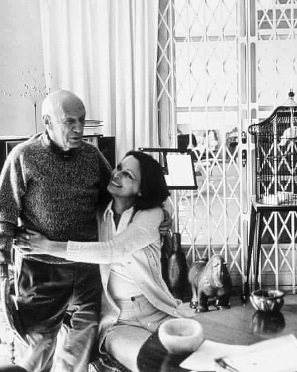 Lucia Bosé with Pablo Picasso, godfather to her daughter, in 1970.
