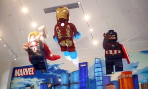 Superheroes in the Lego Flagship Store at Shanghai Disney.