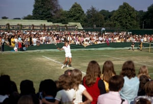 Young fans are among the crowds that have flocked to the outside courts to see teenage sensation Bjorn Borg in 1973