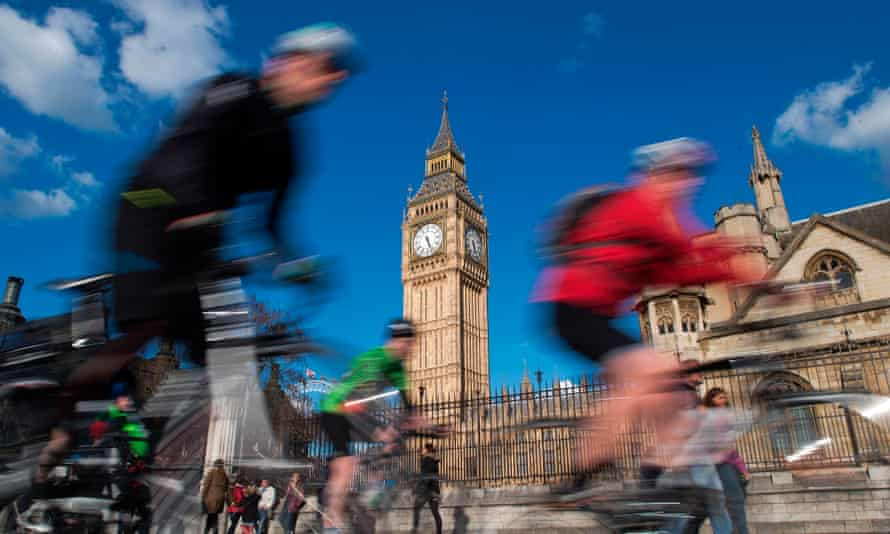 Cyclists outside parliament