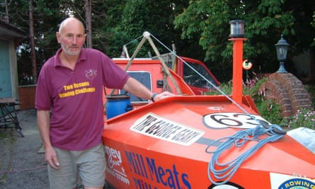 Graham and George Geary, a 22-year-old row boat he built in his garden.