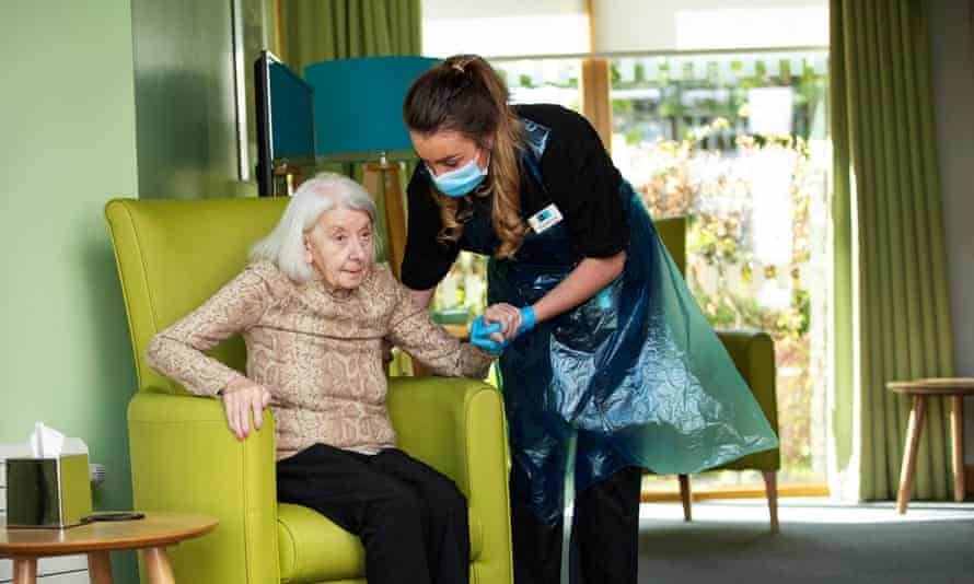 A UK care home worker and resident.