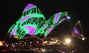 The sails of the Sydney Opera House are illuminated for Vivid festival