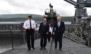 Boris Johnson (right) visiting HMS Vengeance with Defence Secretary Ben Wallace at HM Naval Base Clyde in Faslane, Scotland.