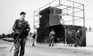 British troops at a vehicle checkpoint near the Irish border at Omagh in 1984.