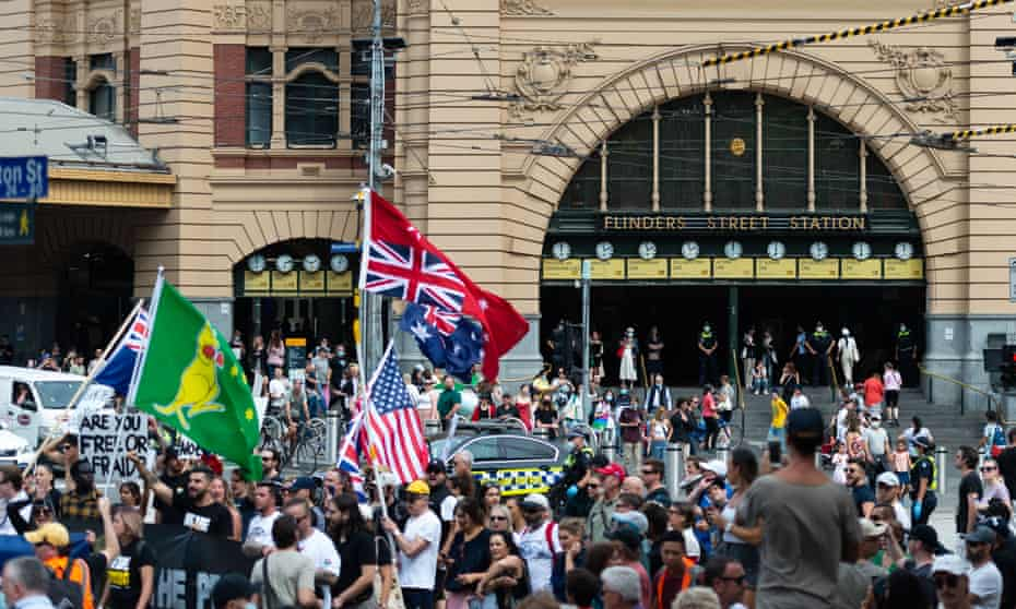 Part of the 'freedom rally' in front of Melbourne's Flinders Street station