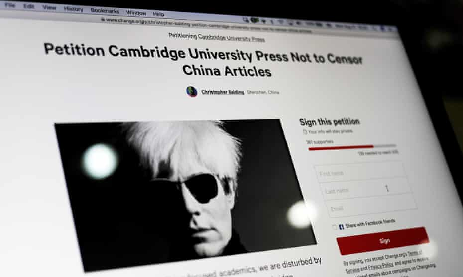 An online petition urges Cambridge University Press to restore more than 300 politically-sensitive articles removed from its website in China. After a worldwide backlash, CUP announced it would do so.