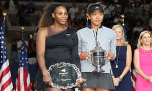Serena Williams and Naomi Osaka with their trophies after playing the US Open women's final.