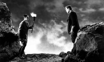 Colin Clive as Frankenstein and Boris Karloff as his monster in a 1931 film version of the story