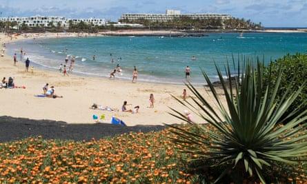 Sun worship: the beach at Costa Teguise, Lanzarote.