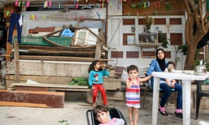 Syrian refugee Widad Barghouz with her children in Beirut.