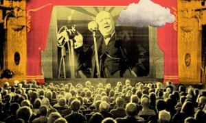 Illustration, of crowd gawping at 'pathe news' Churchill spouting clowd of untruth, by Ellie Foreman-Peck