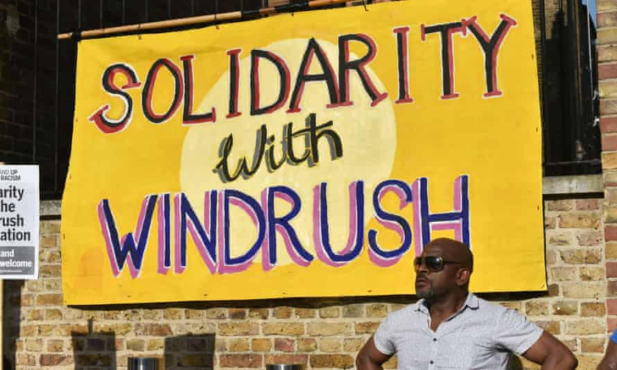 A protest in support of the Windrush generation and their families in Windrush Square, Brixton, London in 2018.