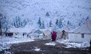View of camp near Bihać in Bosnia-Herzegovina where irregular migrants who were not allowed to cross the Croatian border are sent.