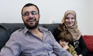 Syrian refugees Talal Khaled Marwan, 32, his wife Maha, 26, and their son Hisham