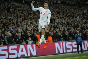 Dele Alli celebrates after scoring his, and Spurs' second goal of the night.