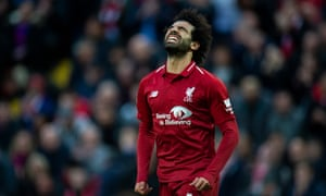 Mohamed Salah expresses his anguish after an opportunity to score goes begging