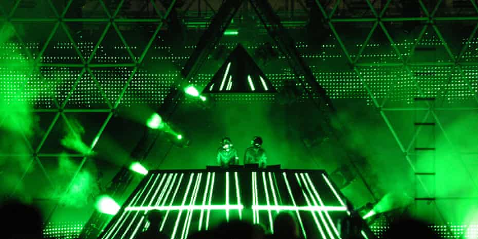 Daft Punk playing the 2006 Coachella festival.