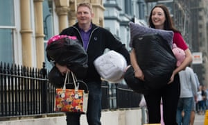 A student arrives at halls of residence at Aberystwyth University