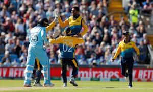 Dhananjaya de Silva celebrates taking the wicket of Adil Rashid caught by Kusal Perera.